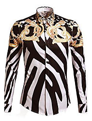 Men's Casual Print Black/White/Gold Long Sleeve Shirt