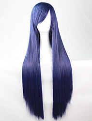 The New Anime Dark Blue Long Straight Hair Wig 80CM