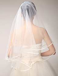 Two-tier Elbow Wedding Veils With Ribbon Edge(More Colors)