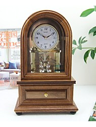 "Modern/Glass/Wood Table Clock 7.875*4.125*12.25""/Oak Color/Rotating Pendulum/with Storage Drawer/Japan Seiko Movement"