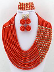 African Wedding Crystal Jewelry Set Fashion Nigerian Beads Costume Necklace Jewelry Set