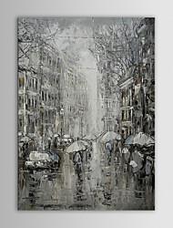 iarts pares pintura al óleo del paisaje moderno en blanco y negro rainning calle mano lienzo pintado con marco de estirado