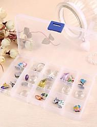 15-grilles de boîtes de rangement de bijoux en plastique transparent
