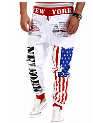 Men's Sport Sweatpants, White Black Gray Blue Star-Spangled Print