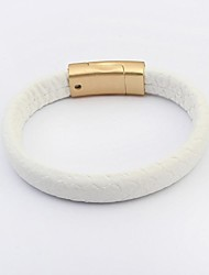 Women's Simply Pattern Genuine Leather Wrist Chain Bracelets