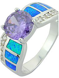 Women's Fashion Bule Fire Opal Silver Plated Ring with Purple Stone