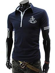 T-Shirts ( Coton mélangé ) Informel Col chemise à Manches courtes pour Homme