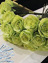 un mazzo di 7 seta rose simulazione panno wedding bouquet di nozze della sposa azienda fiori, verde