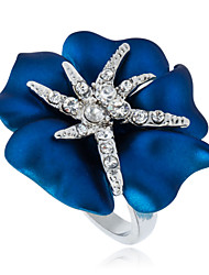 Arinna White Gold Plated Blue Flower Starfish Crystals Cocktail Rings J0607