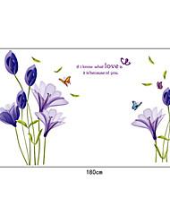 pourpres romantiques lilium pvc stickers muraux
