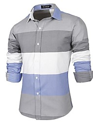 Men's Striped Casual Shirt,Cotton Long Sleeve White