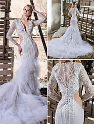 Robe de Mariage - Blanc Taillé & Evasé Col en V