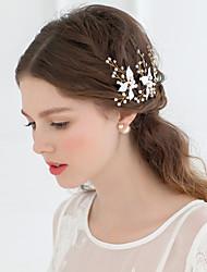 Women Rhinestone/Alloy Leaf Flowers/Barrette With Wedding/Party Headpiece