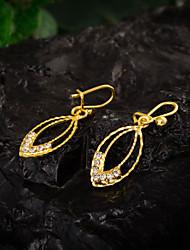 Women's Unique 18K Gold Plating  Inlay Zircon Pendant Earrings