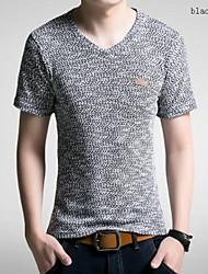 Effen-Informeel-Heren-Katoen / Polyester-T-shirt-Korte mouw Zwart / Bruin / Groen / Beige
