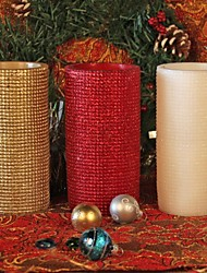 Home Impressions™ 3x6 Inch Flameless Real Wax Led Pillar Candle with Timer-Embossed Red//White/Glod Space Lattice