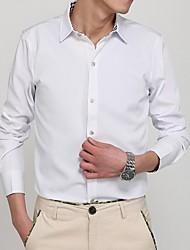 Men's Lapel Fashion Casual Solid Color Long Sleeved Shirt