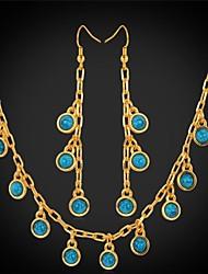 u7® brincos azul turquesa pedra charme colar de ouro de verdade 18k banhado conjunto de jóias para as mulheres de alta qualidade 19 ''