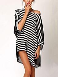 Women's Striped Multi-color Blouse , Slash Neck ¾ Sleeve