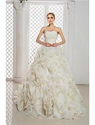 Ball Gown Wedding Dress Chapel Train Sweetheart Organza/Satin