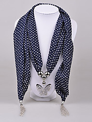 D Exceed Women's White Spot Chiffon Necklace Alloy Casting Butterfly Pendant Scarf with Tassels