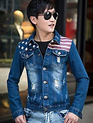 Männer Casual Langarm regelmäßigen Jacke (Baumwolle / Denim)
