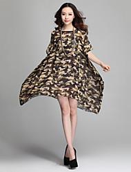 Women's Irregular Print Camouflage Loose Chiffon Dress