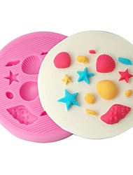 FOUR-C Cake Decor Moulds Shell And Sea Star Silicone Mold Color Pink
