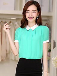 Women's Polo Collar Chiffon Short Sleeve Shirt