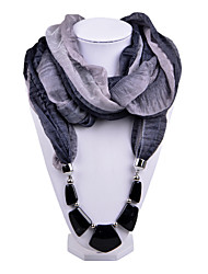 D Exceed  Women Gradient Design Infinity Ring Dark Grey Scarves Voile Scarf with Irregular Stone Pendant Scarfs