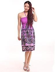 Women's Beach Inelastic Sleeveless Knee-Length Dress (Cotton Blends)