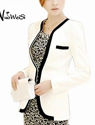 NUO WEI SI® Women'S Fashion  Blazer with Piping Detail Long Sleeve  Coat