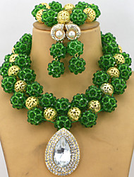Fashion African Crystal Beads Balls Jewelry Set Party Beads Necklace Bracelet Earrings Set
