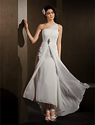 Lanting Bride Sheath/Column Petite / Plus Sizes Wedding Dress-Asymmetrical One Shoulder Chiffon