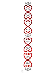 5Pcs Metal Waterproof Red Silver Heart  Pattern Arm Tattoo Stickers For Body Art