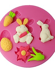 FOUR-C Silicone Sugarpaste Mold Rabbit Cup Cake Topper Color Pink