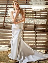 Hochzeitskleid - Weiß Spitze/Satin - Etui-Linie - Bodenlänge - Spaghettiträger