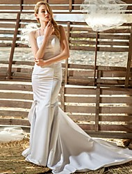 Sheath/Column Floor-length Wedding Dress -Spaghetti Straps Lace