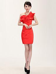 Wedding Party Dress Sheath/Column One Shoulder Knee-length Satin Dress