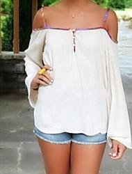 Εκτύπωση λευκό / κόκκινο t-shirt γυναικών, σέξι ιμάντα εξώπλατο μακρύ μανίκι