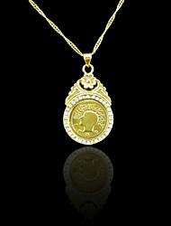 18K Real Gold Plated Allah Muslim Coin Pendant Necklace