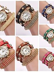 Women's Round Diamond Dial Leather Wrap Band Quartz Korean Rhinestone Fashion Watch C&D-82