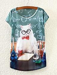 Regulär - Dünn - Druck - T-shirt (Baumwollmischung)