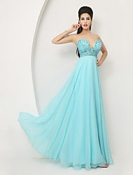 Formal Evening Dress - Sky Blue A-line Sweetheart Floor-length Chiffon