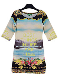 Women's Casual/Daily Bodycon Dress,Print Round Neck Above Knee ¾ Sleeve Multi-color All Seasons / Spring / Summer / Fall / Winter