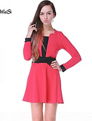 Nuo wei si ® Women's Korean Casual Splicing Color Loose Plus Sizes Dress