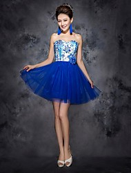 Cocktail Party Dress - Royal Blue Plus Sizes / Petite Ball Gown Sweetheart Short/Mini Organza
