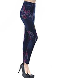 Women Cotton Blends Medium Denim Legging