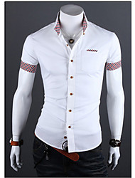 White Men's Fashion Contrast Color Check Short Sleeve Shirt
