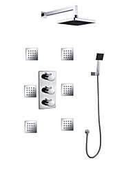 ABS 8 Inch Square Shower Head Concealed Bathroom Thermostatic Rainfall Shower Hand Shower 6 Pcs Of Jet Spray Massage